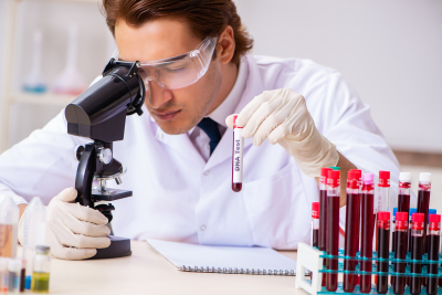 lab assistant testing blood samples